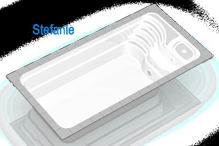 Piscina Stefanie are un design foarte modern, care combina liniile armonioase ale treptelor cu functionalitatea sezlongului ergonomic si caminului tehnic incorporat sub scari,